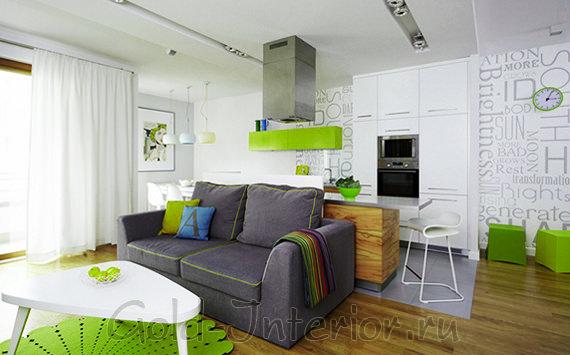Кухня совмещена с гостиной в однокомнатной квартире