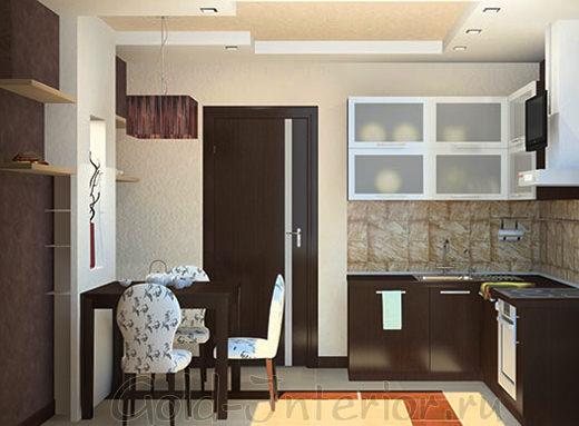 Кухонная мебель и дверь цвета венге