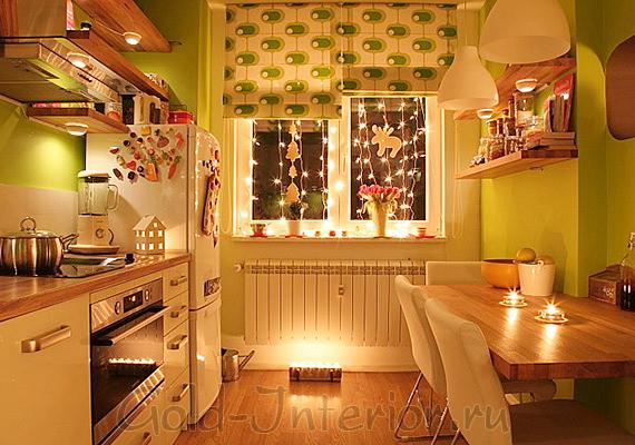 Кухонные полки со встроенными точечными светильниками