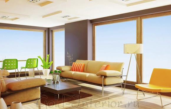 Лёгкий и акварельный интерьер гостиной