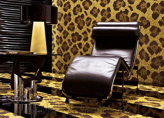 Леопардовая мозаика в интерьере кабинета