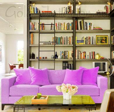 Лиловый диван и салатовый столик - достойная пара