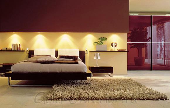 Люминесцентные лампочки в интерьере спальни