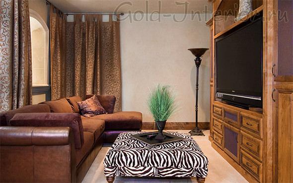 Маленький зал в стиле шале