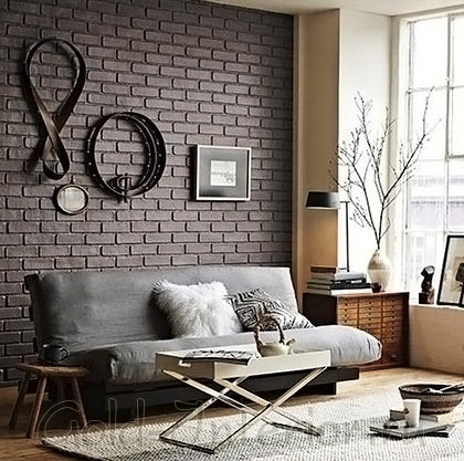 Матовая кирпичная стена чёрно-коричневого оттенка