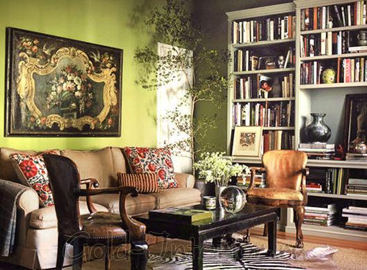 Мебель оттенка горького шоколада + диван цвета хаки