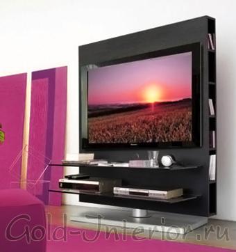 Медиа-стойка для телевизора в интерьере гостиной