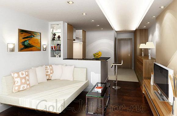 Минималистичный дизайн однокомнатной квартиры