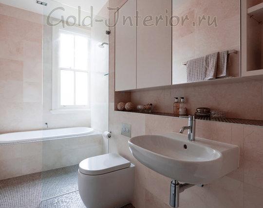 Минимализм в интерьере совмещённой ванной