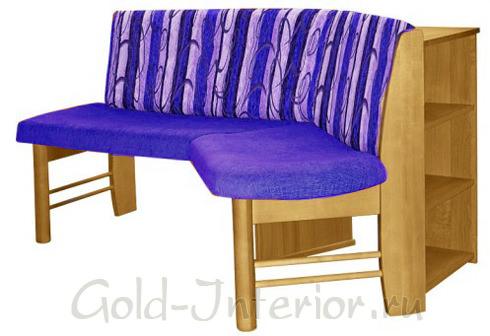 Модель углового дивана с приставными полками и мягким сиденьем со спинками