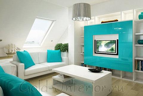 Морская волна + белый цвет в интерьере гостиной