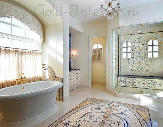 Узорная мозаика на стенах и на полу в просторной ванной