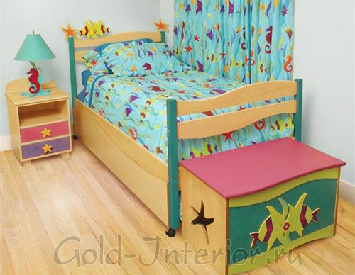 Мягкий оттенок цвета морской волны для детской комнаты