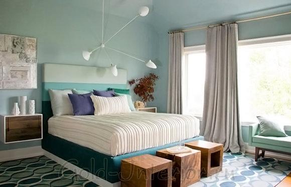 Мятный и лазурный цвет в современном интерьере спальной комнаты