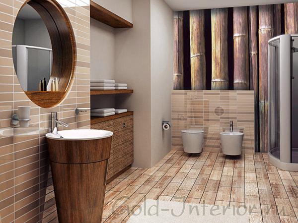 На фото - бамбуковые обои в ванной