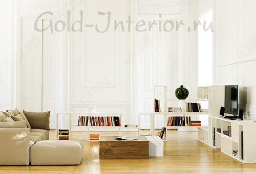 На фото - бежевый диван и белые стены