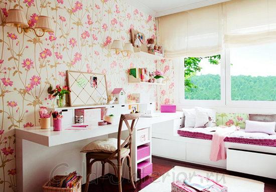 На фото интерьер комнаты для девочки