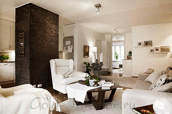 На фото интерьер трёхкомнатной квартиры п44т