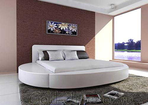 На фото круглый диван-кровать белого цвета
