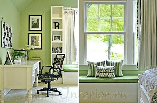 На фото интерьер комнаты для девушки в зелёном цвете