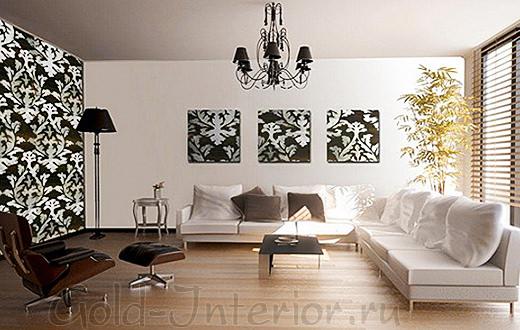На картинах и обоях выполнен одинаковый чёрно-белый рисунок