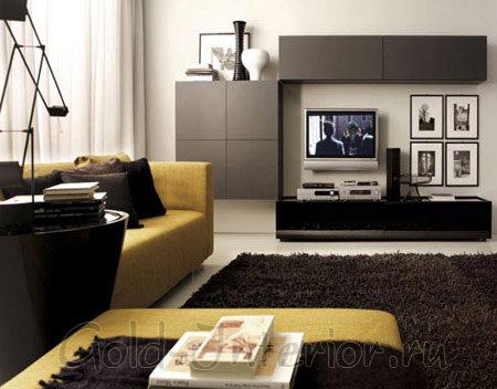Венге в интерьере гостиной: на корпусной мебели, подушках и ковре