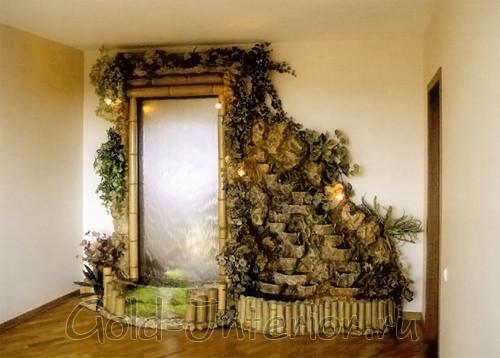 Необычное дизайнерское оформление стены водопадом