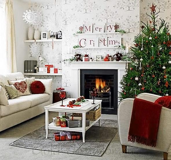 Новогоднее оформление гостиной в доме