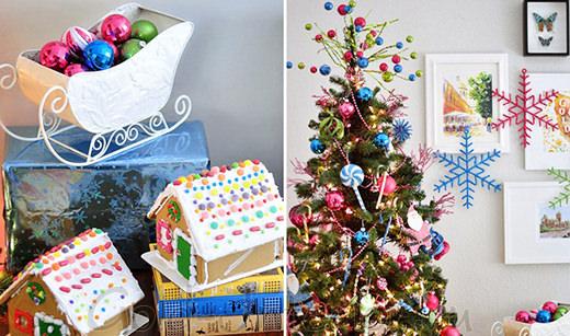 Новогодние сувениры - разноцветные стеклянные шарики