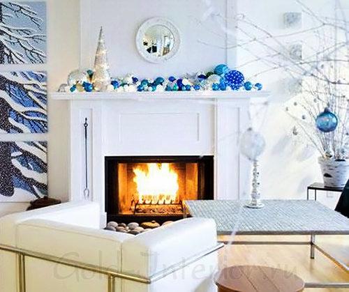 Новогодний интерьер: бело-синяя гамма