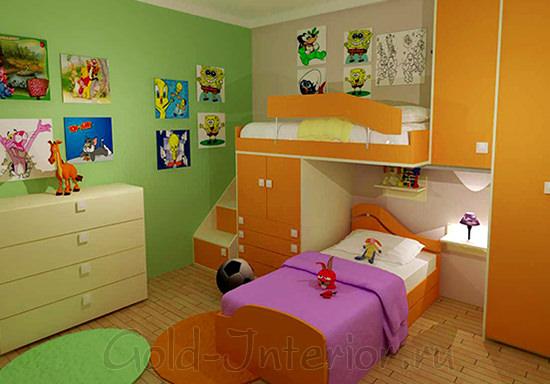 На фото комната для девочек: салатовый + оранжевый + фуксия