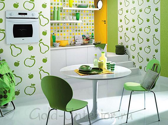 Обои для кухни с изображением зелёных груш