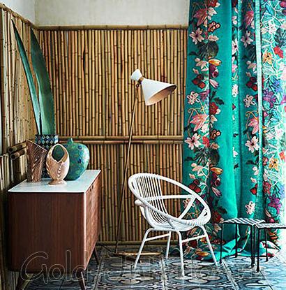 Обои из бамбука и мебель из ротанга
