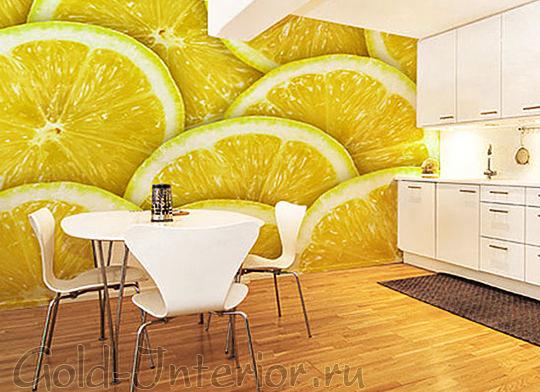 Обои на кухне с рисунком лимонов
