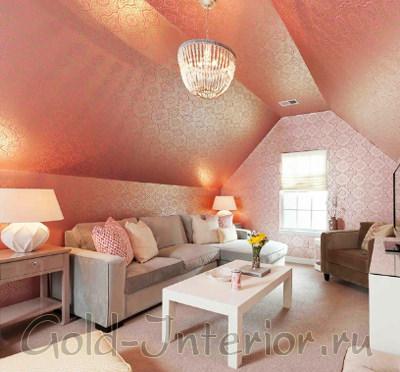 Светло-розовые обои с переливом