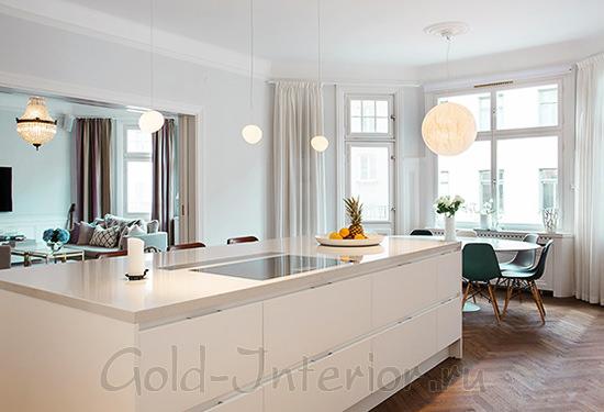 Оформление кухни белой мебелью