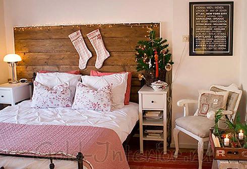 Оформление спальни к новому году