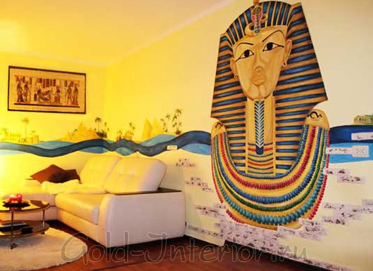 Оформление стены в детской в египетском стиле