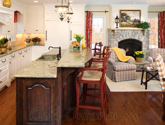 Оформление трёх зон: гостиной-кухни-столовой