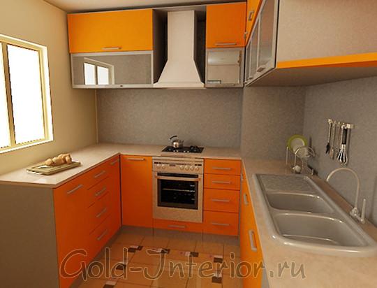 Оранжево-бежевый гарнитур для кухни 6 кв