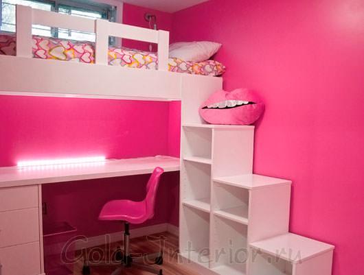 Оригинальное оформление детской в розовом цвете