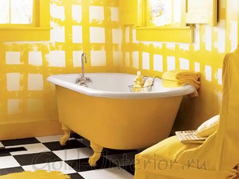 Оригинальное оформление интерьера ванной жёлтым цветом