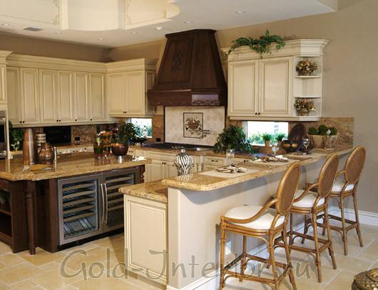 Оттенки бежевого и цвет венге в дизайне кухни