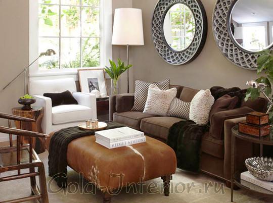 Оттенки коричневого в гостиной комнате