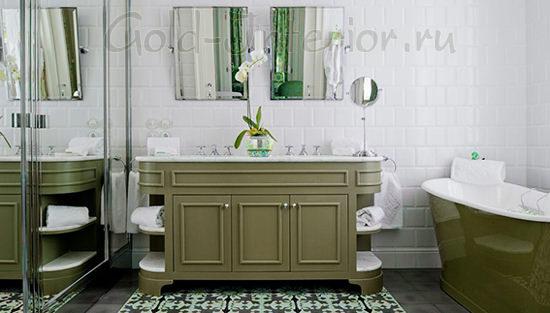 Оттенки оливкового цвета в ванной