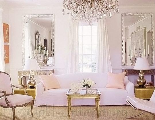 Персиковые оттенки в декорировании гостиной