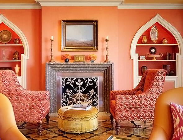 Персиковый цвет в гостиной восточного стиля