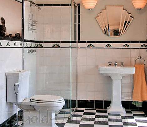 Плитка в ванной в стиле ар деко