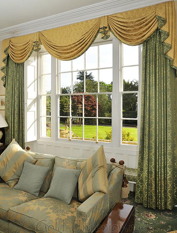 Плотные шторы в стиле ампир: золотой + оливковый
