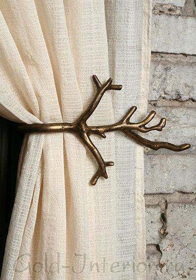 Подхват для шторы в виде бронзовой веточки
